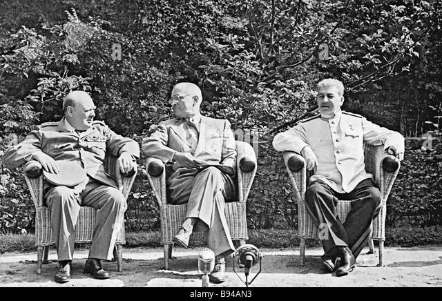 The Big Three conference in Potsdam Berlin was held from July 17 till August 2 1945 Left to right British Prime - Stock Image