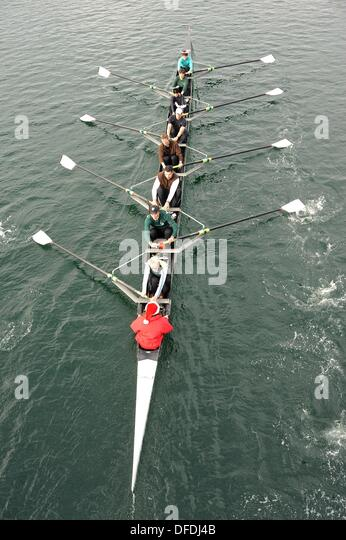 Rowing team in the Gorge waterway, Victoria, British Columbia, Canada - Stock Image