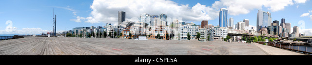 City skyline of buildings viewed from one of the piers downtown - Stock Image