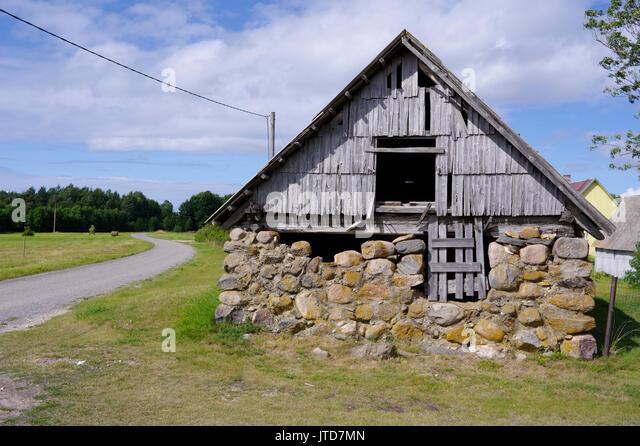Old barn in island Kihnu. Estonia 5th August 2017 - Stock Image
