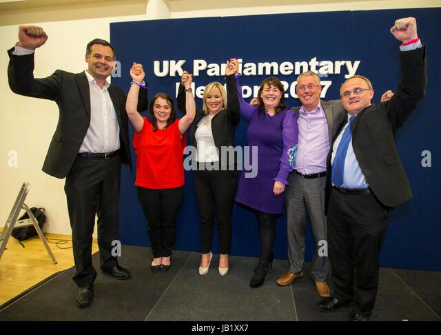 (From the left) Sinn Fein's Pearse Doherty TD, Jemma Dollan MLA Sinn Fein leader in Northern Ireland Michelle - Stock Image