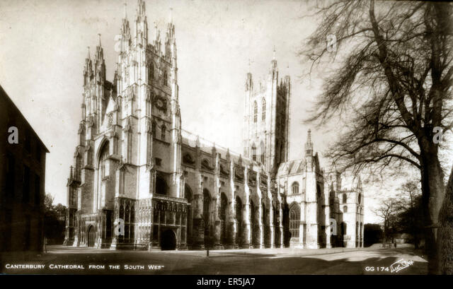 The Cathedral, Canterbury, Kent, England.  1940s - Stock Image