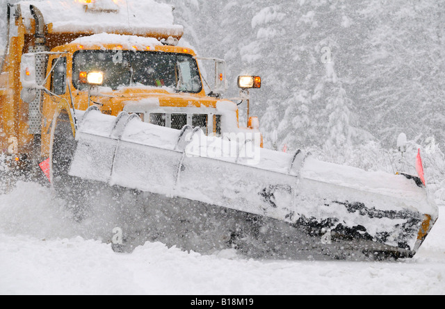 Plowing the Roads, Duncan, Vancouver Island, British Columbia, Canada - Stock Image
