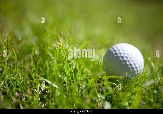 golf ball on grass close up selective focus horizontal - Stock Image