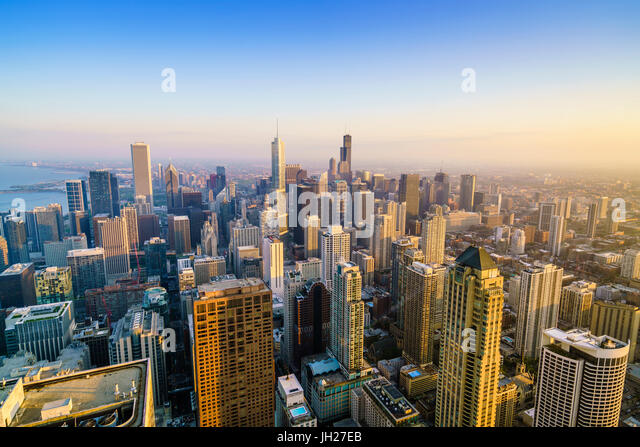 City skyline, Chicago, Illinois, United States of America, North America - Stock Image