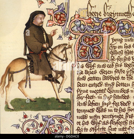 GEOFFREY CHAUCER (c 1343-1400) English writer and civil servant shwon as a pilgrim in the Ellesmere manuscript - Stock Image