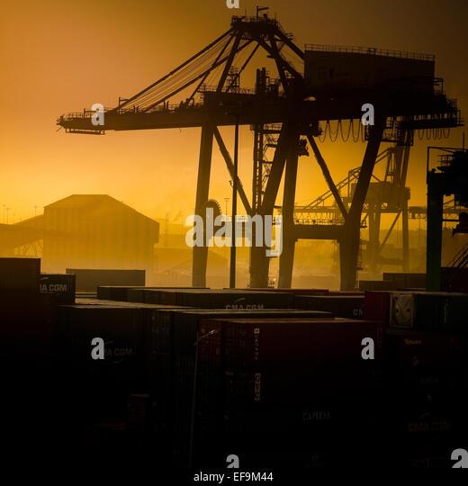 Orange tinted view of Casablanca dockyard,square format - Stock Image
