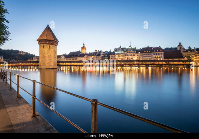 Chapel bridge Lucerne Switzerland - Stock Image