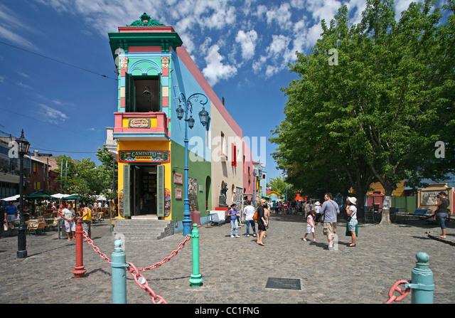 The Caminito of tango lore in the barrio La Boca, Buenos Aires, Argentina - Stock Image