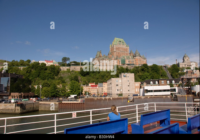 Quebec City skyline in summer from St Lawrence River ferryboat Ville de Québec capital Quebec province Canada - Stock Image