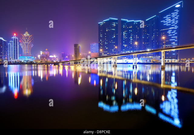 Resorts and casinos at Nam Van Lake in Macau S.A.R, China. - Stock Image