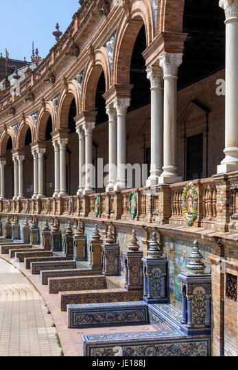 Architectural detail on a bridge at the Plaza de Espana in the city of Seville in the Andalusia region of Spain - Stock Image