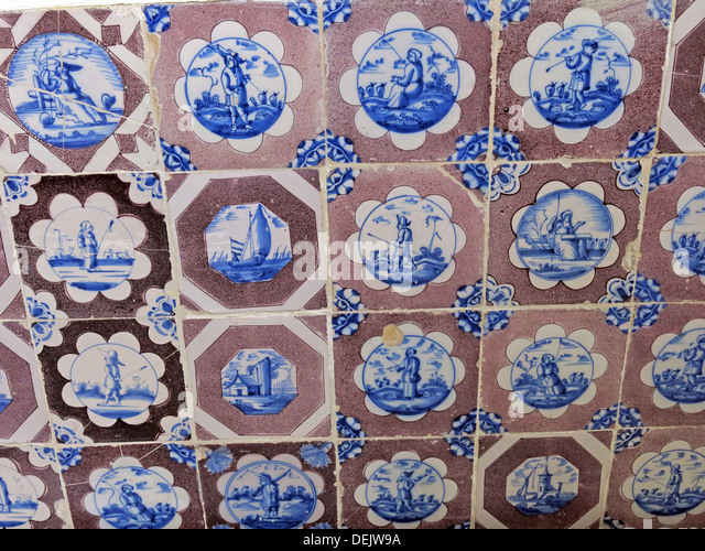 Ceramic Tiles in Brown & Dutch Blue,Barrington Court,ilminster,Somerset,England,UK,NT - Stock Image
