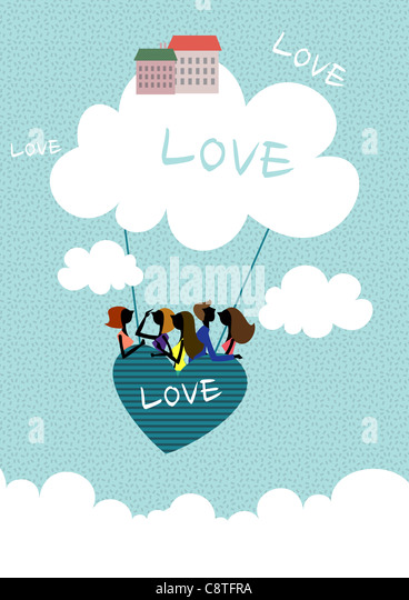 Couple In Heart Shape Hot Air Balloon - Stock Image
