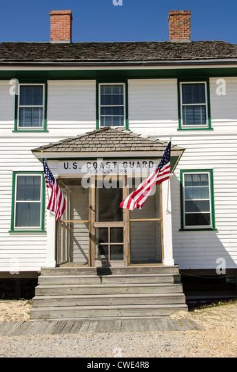 Wash Woods Coast Guard Lifesaving Station entrance historic building, Corolla, Outer Banks, North Carolina - Stock Image