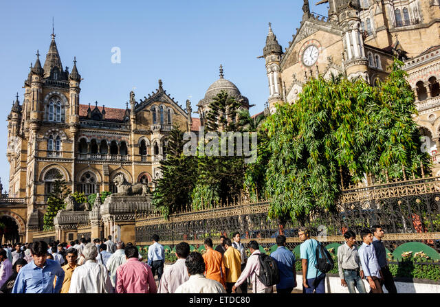 Mumbai India Indian Asian Fort Mumbai Chhatrapati Shivaji Central Railways Station Terminus Area Victorian Italianate - Stock Image