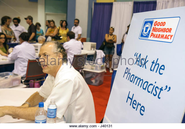 Miami Beach Miami Florida Beach Convention Center centre Health & and Fitness Expo free screening testing exhibit - Stock Image
