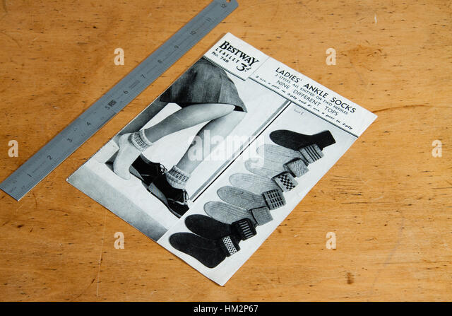 Vintage knitting pattern for ladies ankle socks - Stock Image