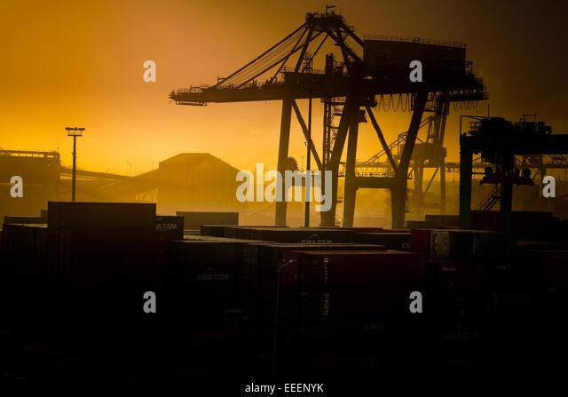 Orange tinted Casablanca dockyards. - Stock Image