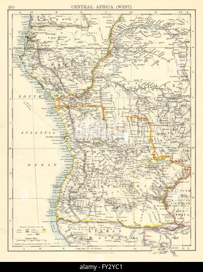 COLONIAL CENTRAL AFRICA. French Congo Free State Portuguese West Af. , 1899 map - Stock-Bilder
