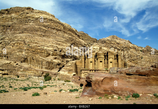 Ad Deir, an ancient rock-cut monastery in Petra, Jordan. - Stock Image