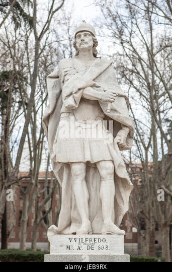 Madrid, Spain - february 26, 2017: Sculpture of Wilfred the Hairy at Plaza de Oriente, Madrid. He was a Visigothic - Stock Image