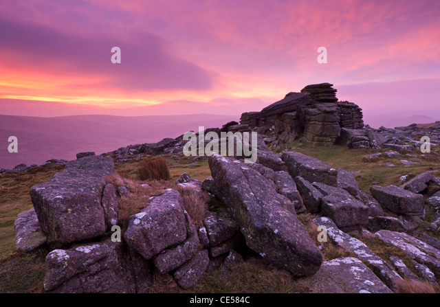 Intense sunrise above Belstone Tor, Dartmoor, Devon, England. Winter (January) 2012. - Stock Image