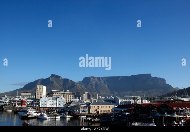 overlooking the cafes and restaurants at quay 5 v&a waterfront cape town western cape province south africa - Stock Image