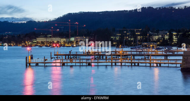 Zurich lake in Winter,  Pier, Switzerland - Stock Image