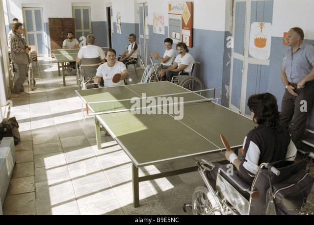Table tennis competition at the second All Union Olympiad for incapacitated people - Stock Image