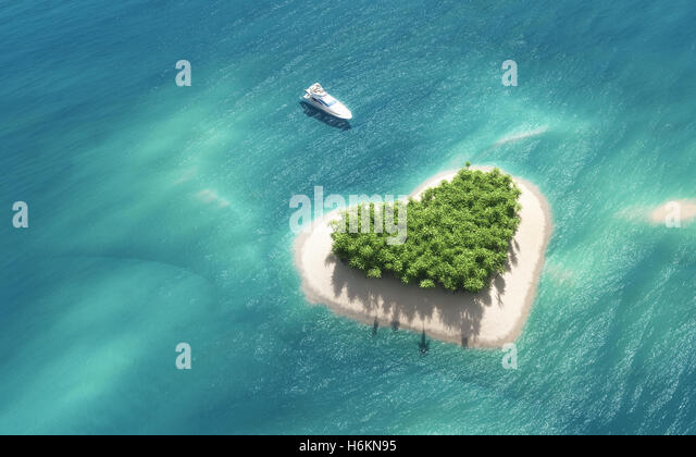 Top view of a boat anchors to a heart shaped island. This is a 3d render illustration - Stock Image