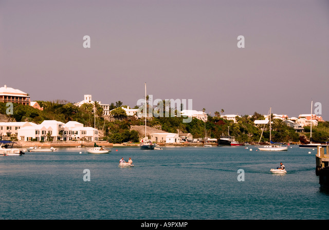 Bermuda St Georges town harbor harbour sail boats - Stock Image