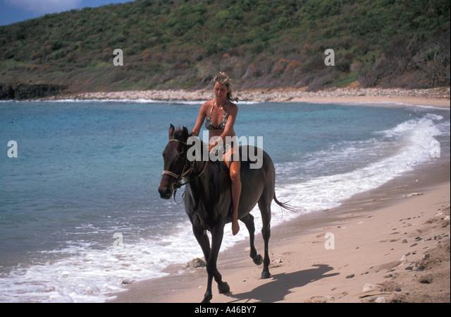 St Maarten woman horseback riding on the beach - Stock Image