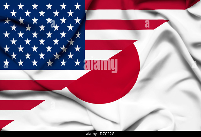 United States of America and Japan waving flag - Stock Image