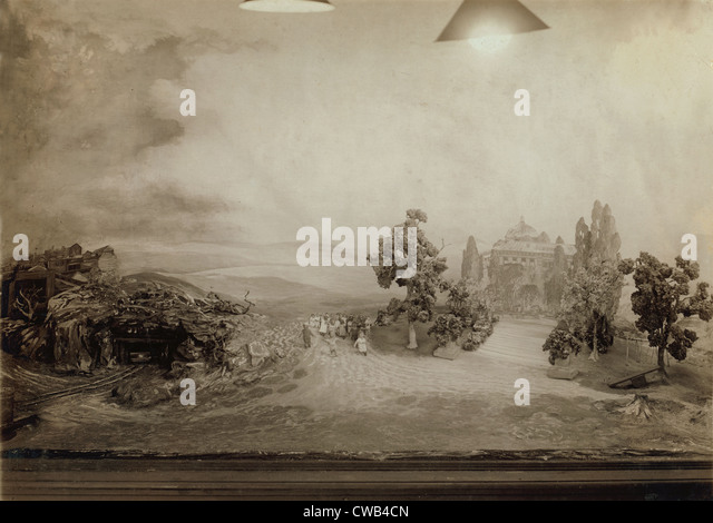 Photograph of an exhibit model and landscape, New York, New York, photograph by Lewis Wickes Hine, December, 1916. - Stock Image