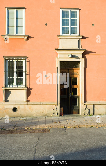 Sweden, Stockholm, detail of pink stucco house - Stock-Bilder
