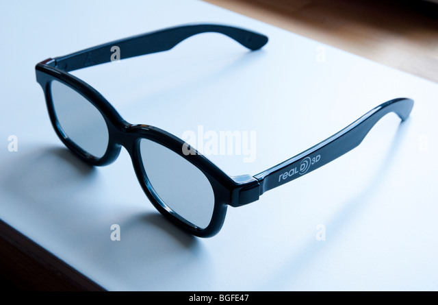 3D glasses which can be bought and worn when viewing three dimensional films  at the cinema. - Stock Image