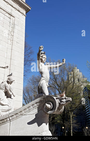 USS Maine monument statue at Columbus circle at the corner of Central Park, Manhattan, York City, USA Photo taken - Stock Image