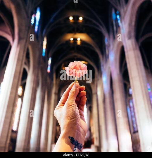 Woman Holding Dandelion - Stock Image