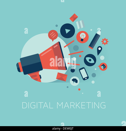 Stylish illustration of megaphone with cloud of colorful application icons on media theme. Digital marketing concept. - Stock-Bilder