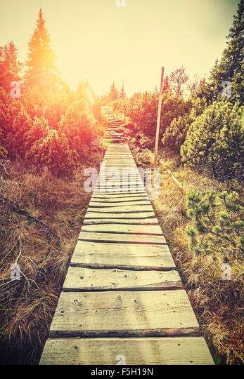 Retro stylized mountain wooden path in mountains at sunset, flare effect, Karpacz, Poland. - Stock-Bilder