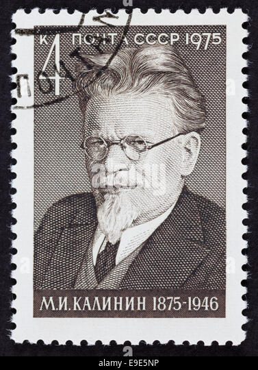 USSR postage stamp Mikhail Ivanovich Kalinin. 1975 year. Black background. - Stock Image