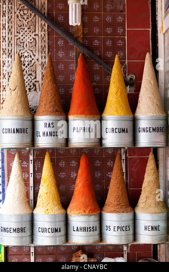 Piles of spices in Marrakech market - Stock Image
