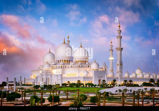 Sheikh Zayed Grand Mosque at dusk (Abu-Dhabi, UAE) - Stock Image