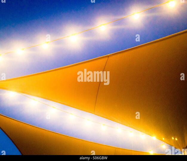 Awning and patio lights. - Stock-Bilder
