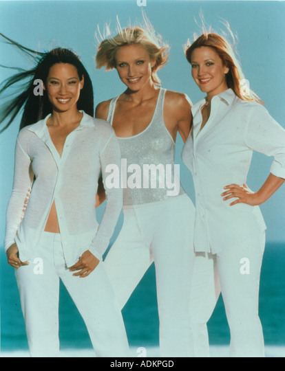 CHARLIE'S ANGELS Columbia film in 2000 with from left Lucy Liu, Cameron Diaz and Drew Barrymore - Stock Image