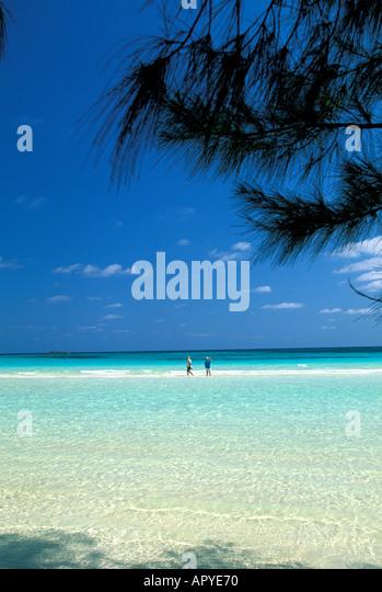 Caribbean Beaches Grand Bahama Island Gold Rock Beach Lucaya National Park - Stock Image