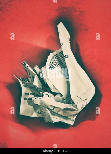 A crumpled losing betting slip - Stock Image