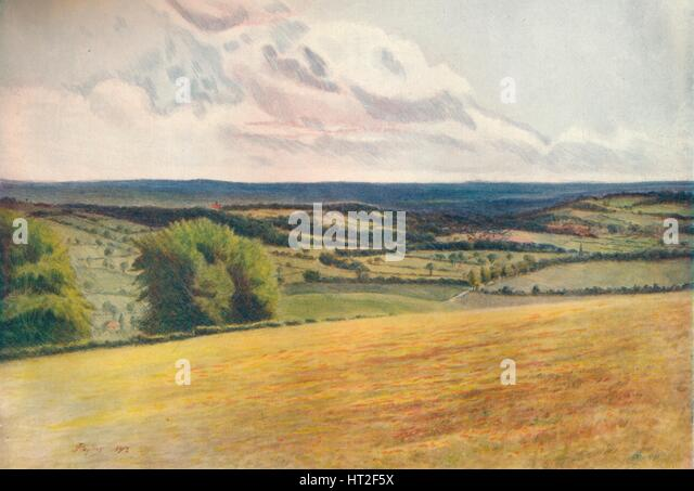 'View from the Churchyard, Tatsfield', 1912, (1914). Artist: James S Ogilvy. - Stock Image