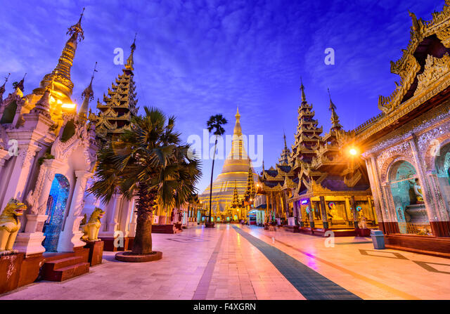 Shwedagon Pagoda in Yangon, Myanmar. - Stock-Bilder